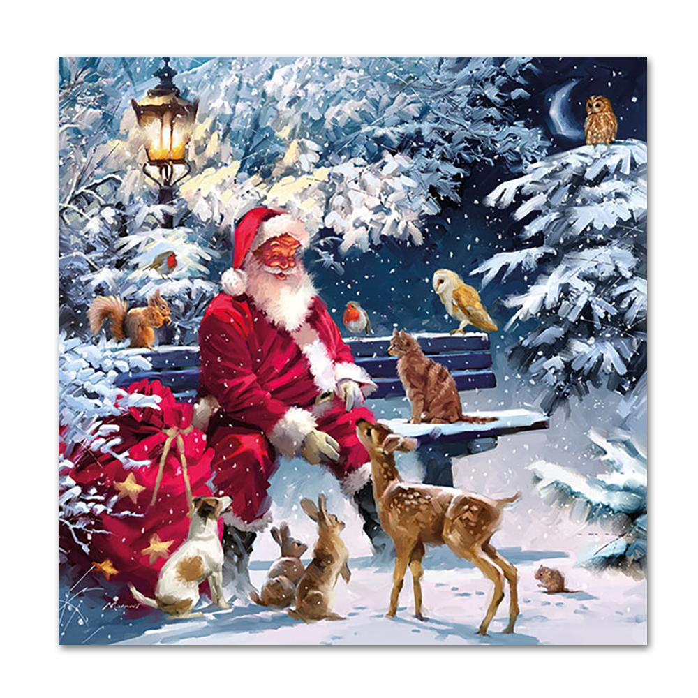 Santa and Friends Paper Napkins - Luncheon