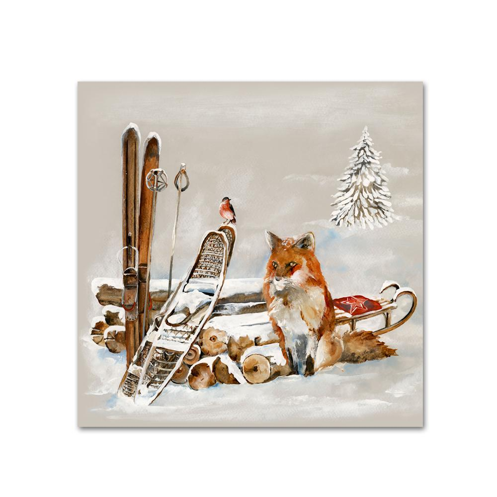 Winter Fox and Bird Paper Beverage Napkins