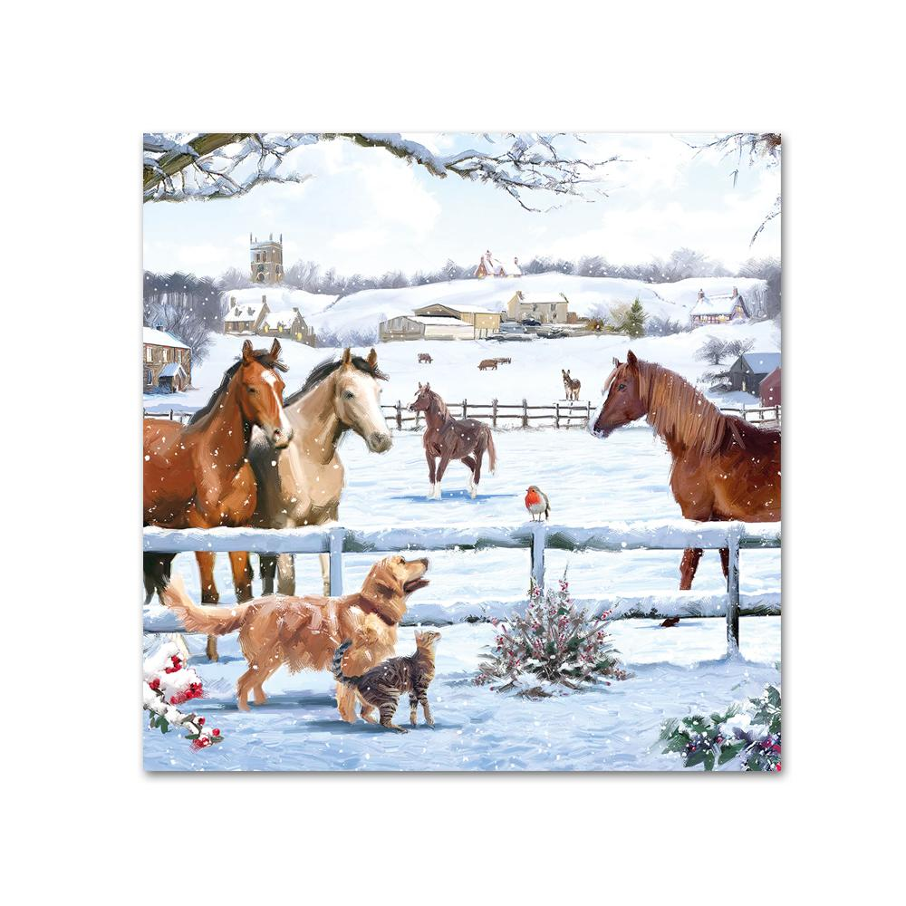 Horses Winter Magic Paper Beverage Napkins