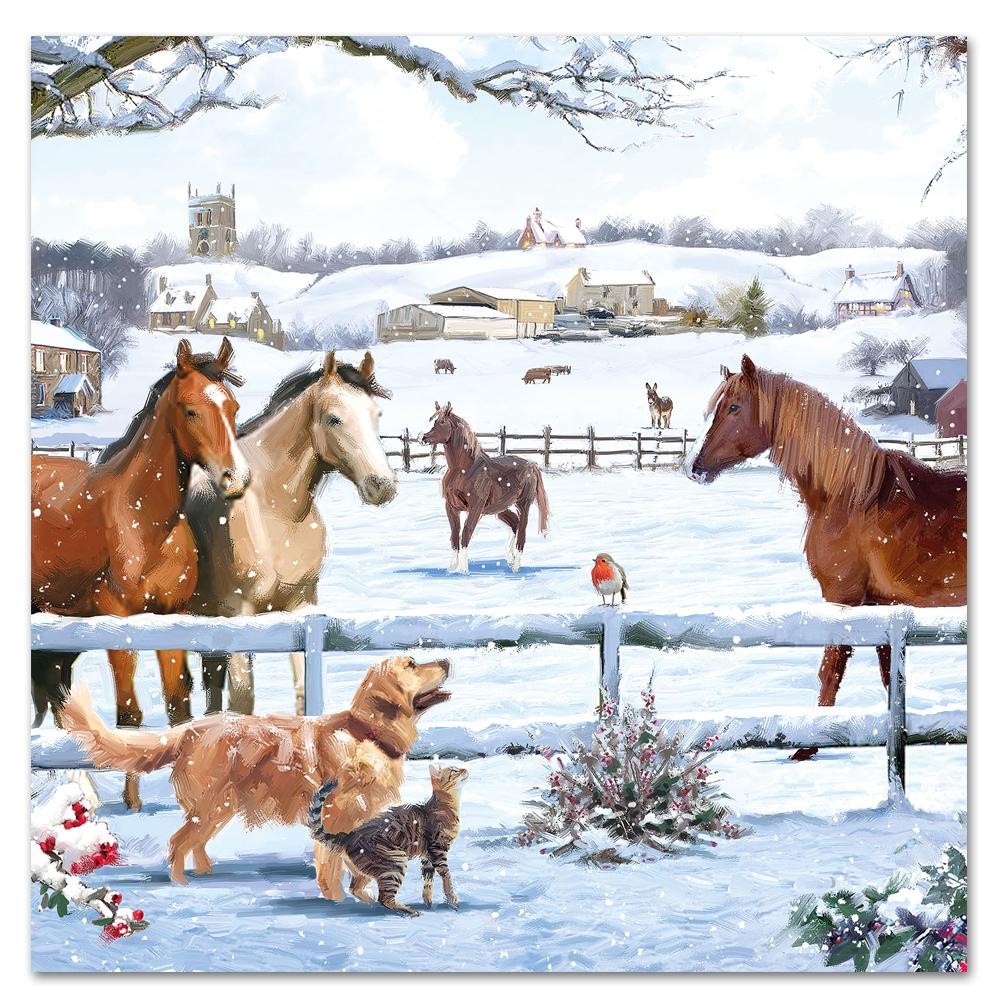 Horses Winter Magic Paper Luncheon Napkins