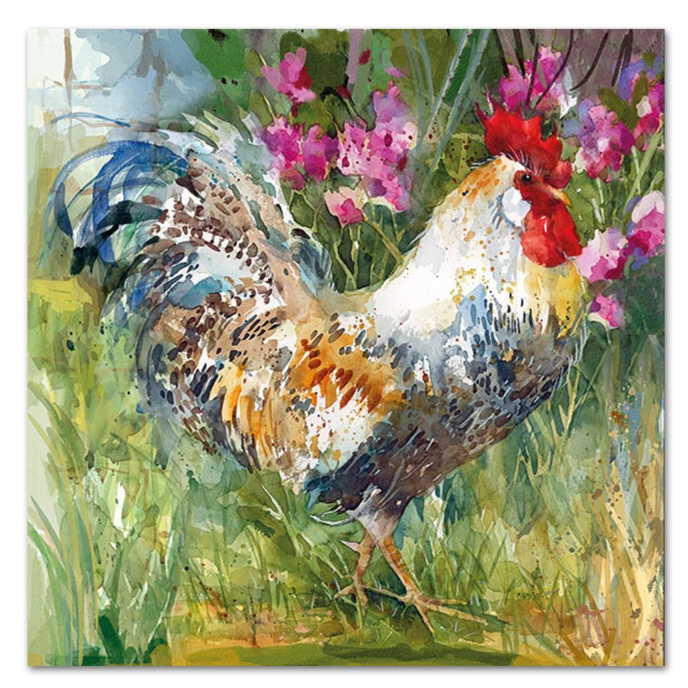Aquarell Rooster Paper Luncheon Napkins