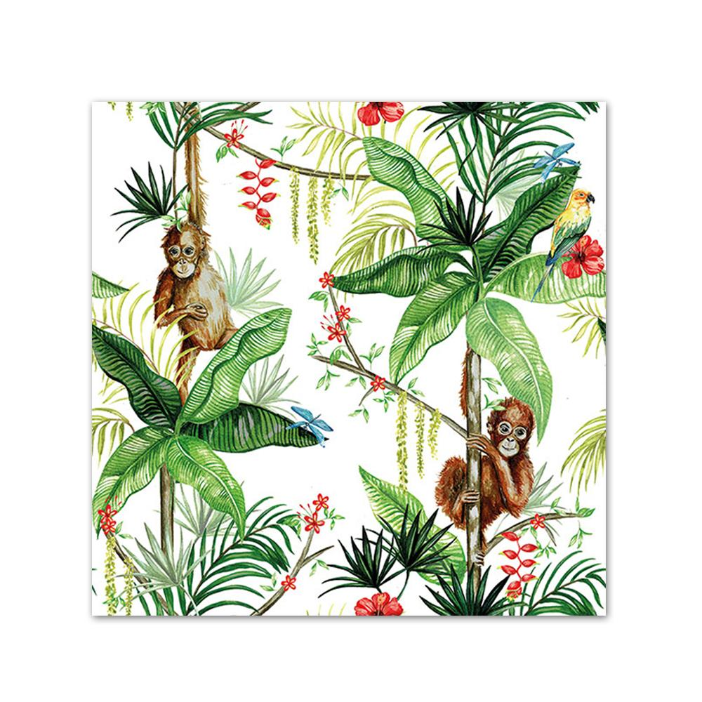 Orangutan Jungle White Paper Beverage Napkins