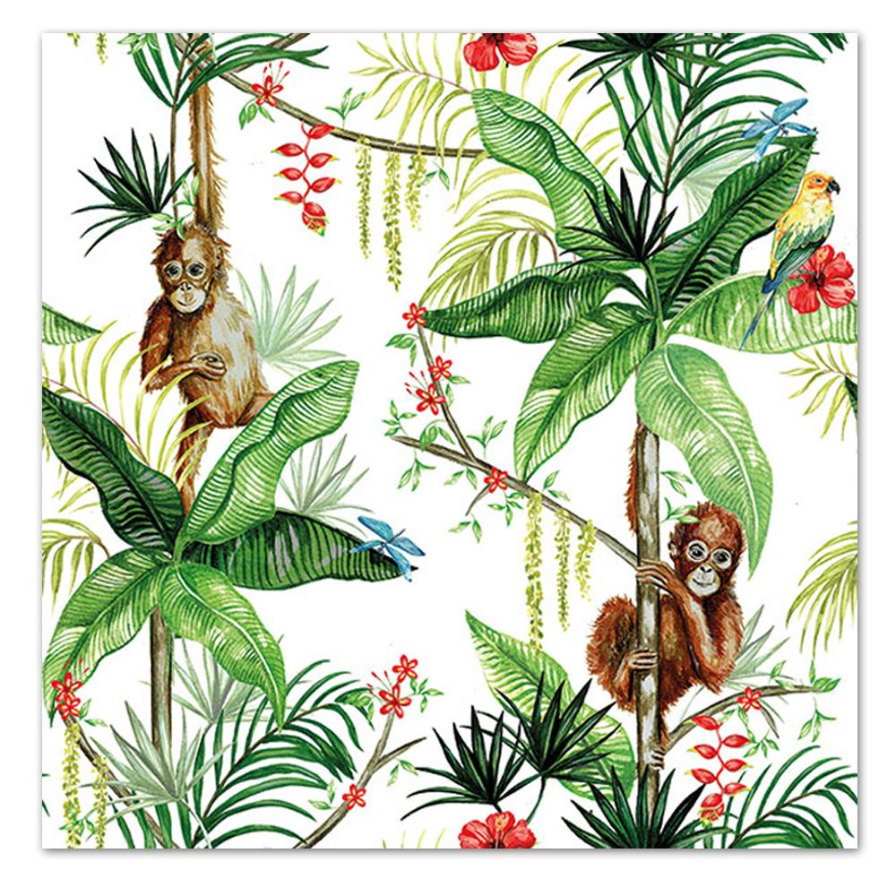 Orangutan Jungle White Paper Luncheon Napkins