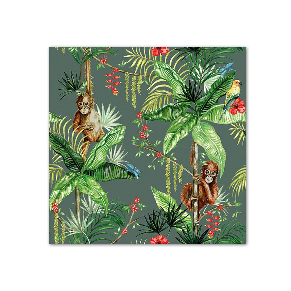 Orangutan Jungle Green Paper Beverage Napkins