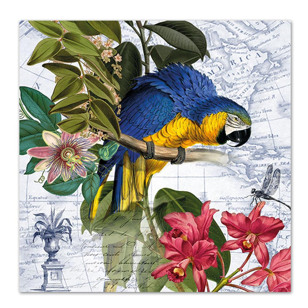 Blue Macaw Parrot Paper Luncheon Napkins