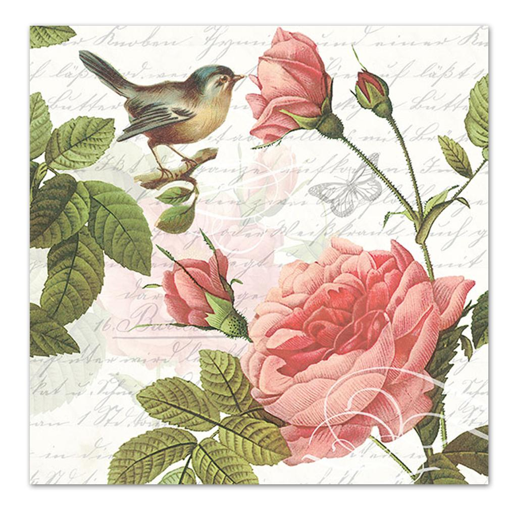 Roses & Song Bird Paper Luncheon Napkins