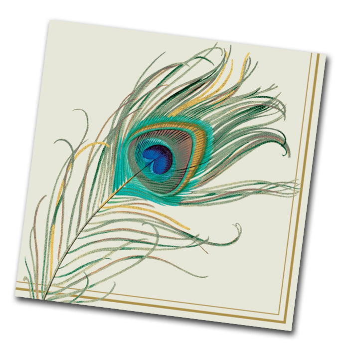 Peacock Feather Paper Napkin - Luncheon