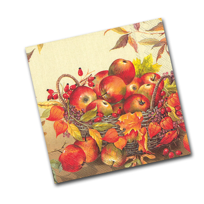 Basket of Apples Paper Napkins, Cream - Beverage