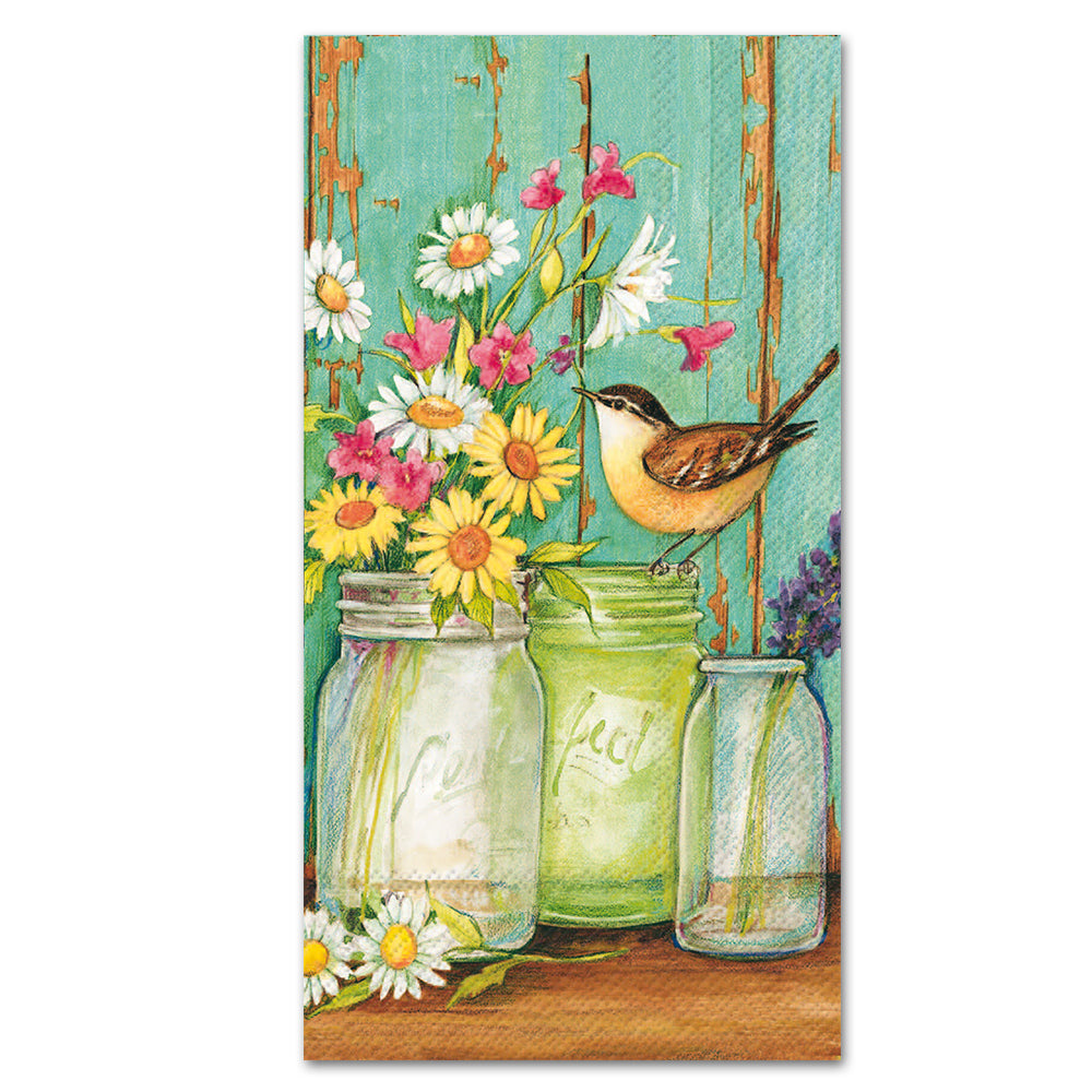 Jars of Cut Flowers Buffet Napkins - Paper Guest Towels