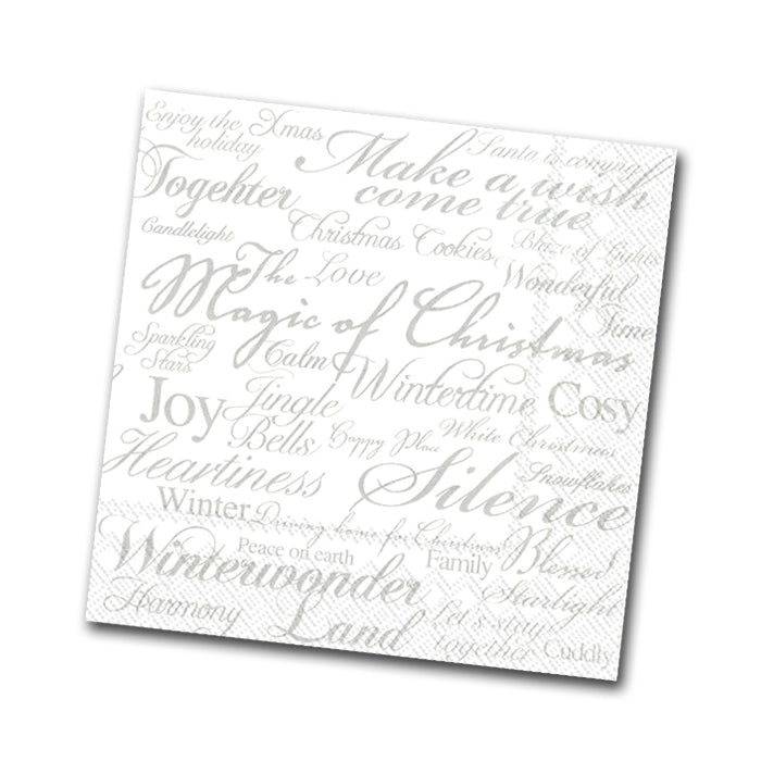 Magic of Christmas Paper Napkins, Silver - Beverage