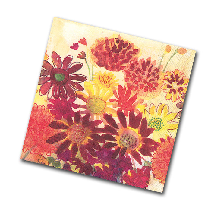 Bunch of Fall Flowers Paper Napkins - Beverage