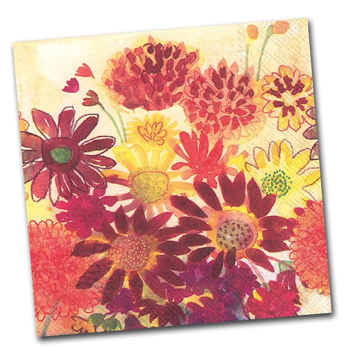 Floral garden themed paper napkins napkins2go bunch of fall flowers paper napkins luncheon napkins2go mightylinksfo