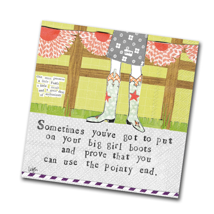 Curly Girl - Big Girl Boots Funny Cocktail Napkins