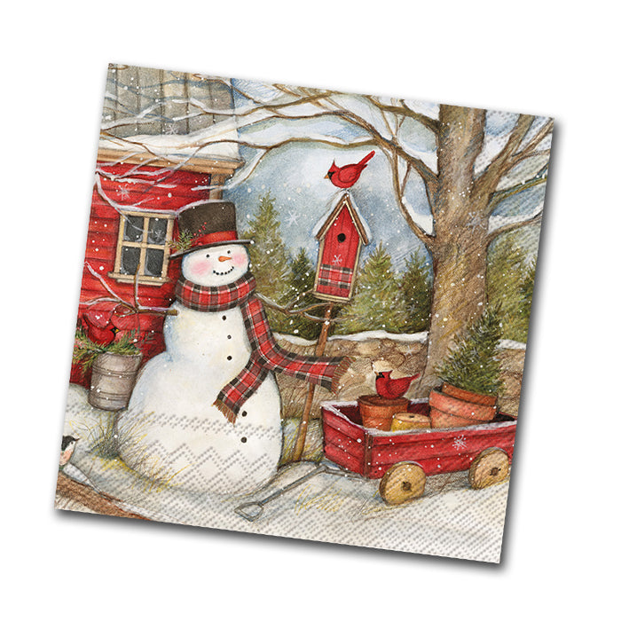 Country Barn Snowman Beverage Napkin