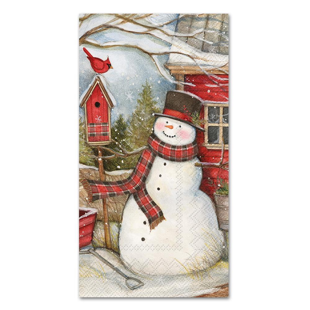 Country Barn Snowman Paper Guest Towel