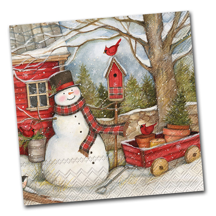 Country Barn Snowman Lunch Napkin