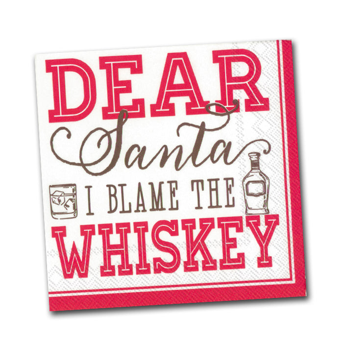 Blame the Whiskey Funny Christmas Cocktail Napkin