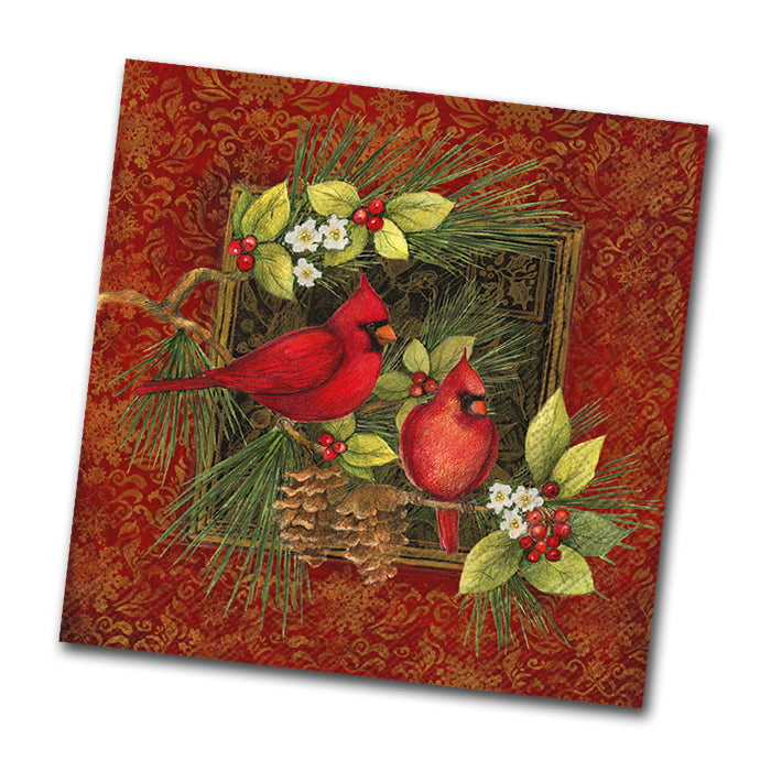Botanical Christmas Birds Beverage Napkin