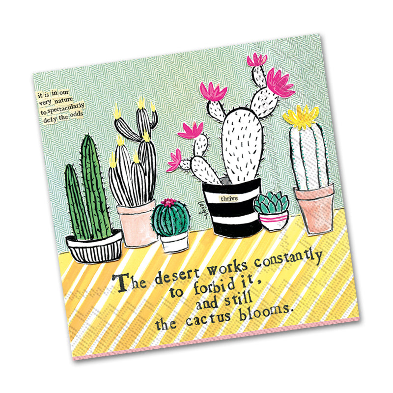 Cactus Blooms Curly Girl Beverage Napkins