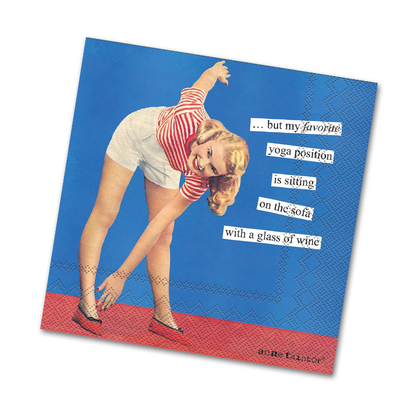 Yoga Position Funny Cocktail Napkins by Anne Taintor