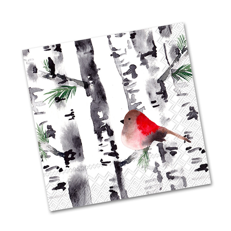 Bird in Birch Trees Beverage Napkins