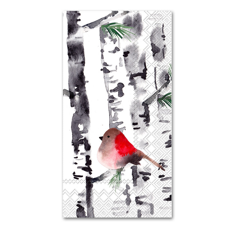 Bird in Birch Trees Paper Guest Towels - Buffet Napkins