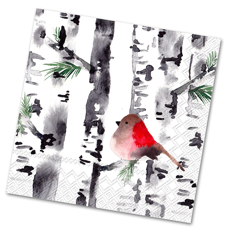 Bird in Birch Trees Luncheon Napkins