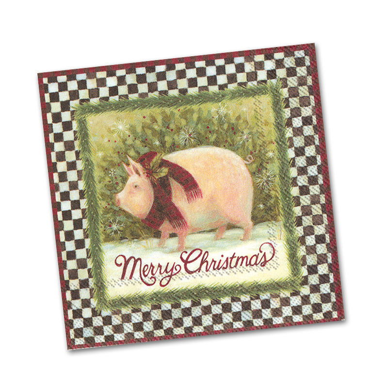 Merry Christmas Pig Beverage Napkins