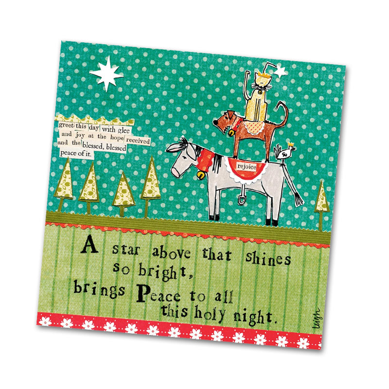 Holy Night by Curly Girl Beverage Napkin