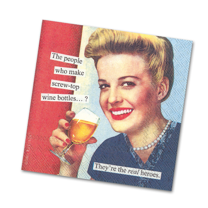 Screw Top Funny Cocktail Napkins from Anne Taintor