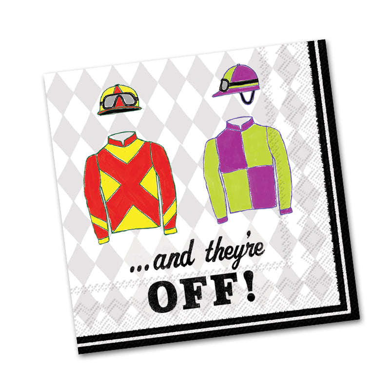 And They're Off Horse Racing Beverage Napkins