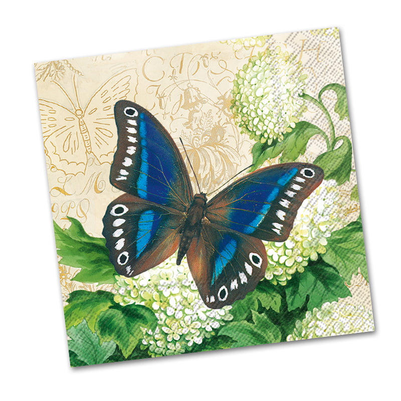 Butterfly Summer Cream Paper Beverage Napkins