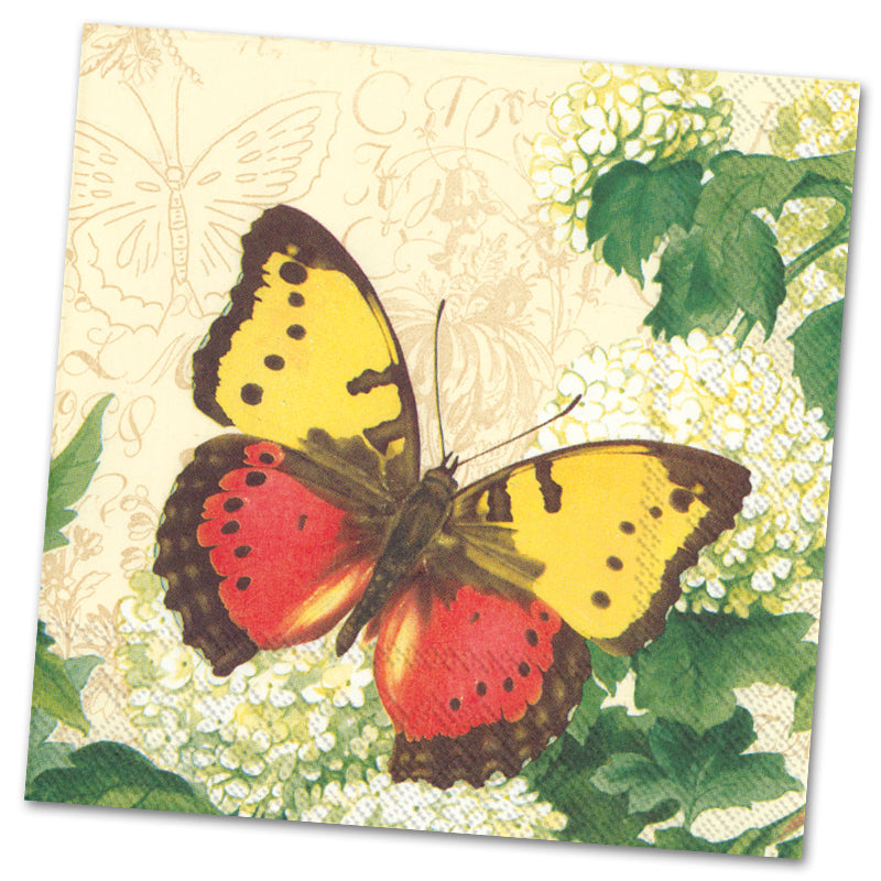 Butterfly Summer Cream Paper Luncheon Napkins