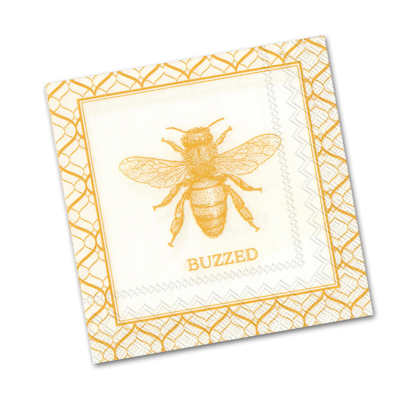 Buzzed Honey Bee Paper Beverage Napkins