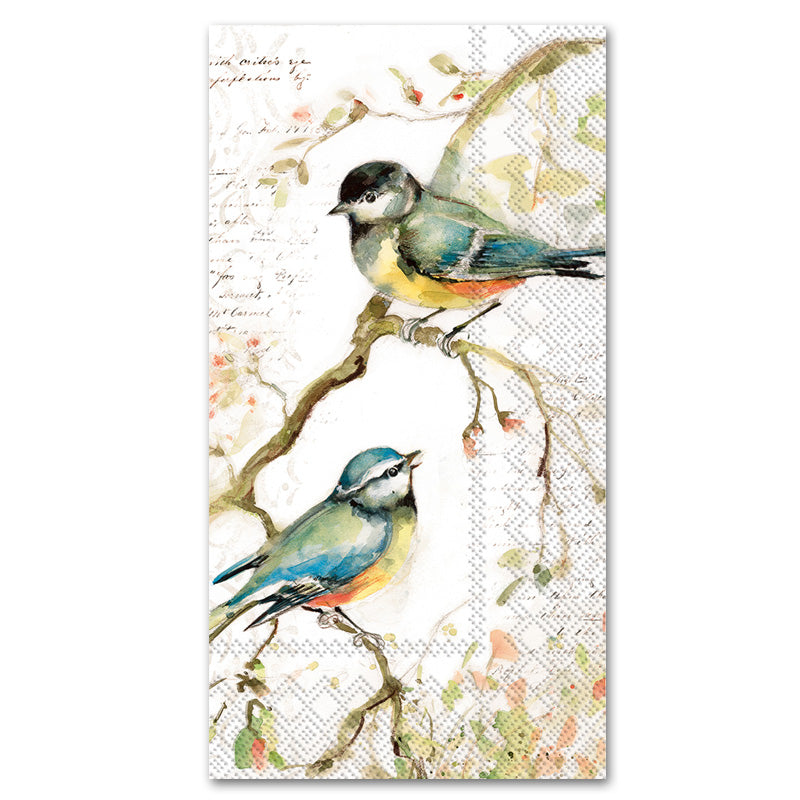 Happy Little Titmice Paper Guest Towels - Buffet Napkins