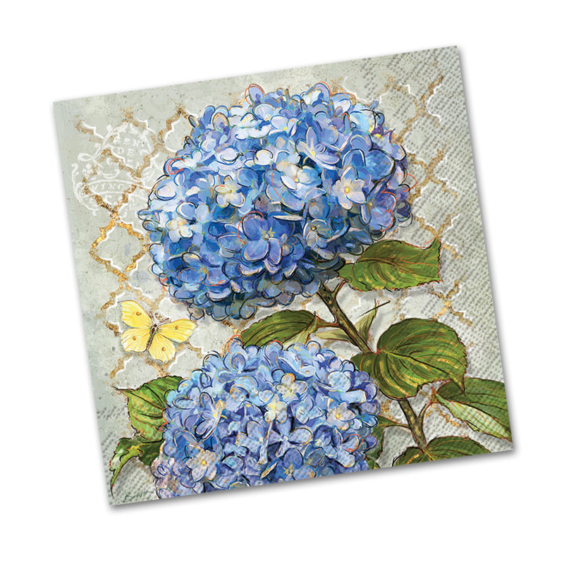 Blue Heirloom Hydrangea Beverage Napkins