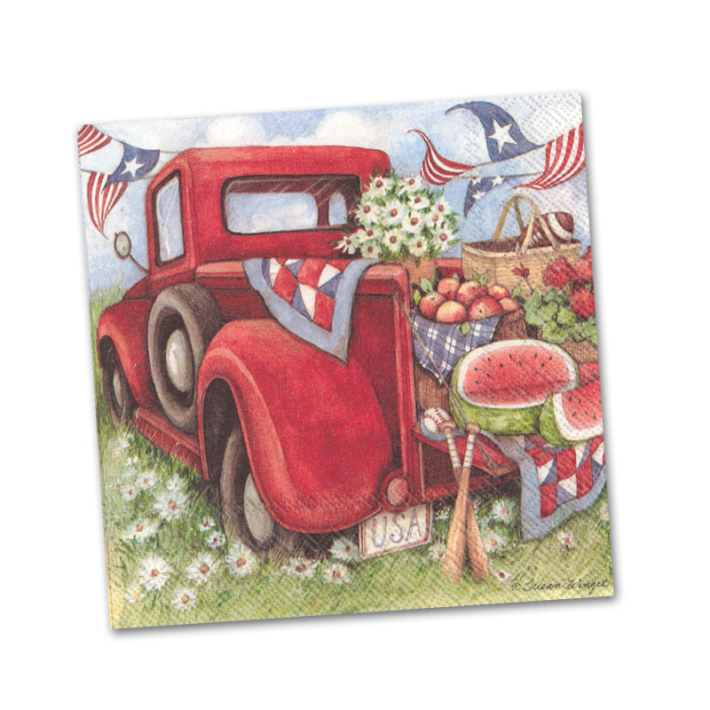 Red Truck Picnic Paper Beverage Napkins