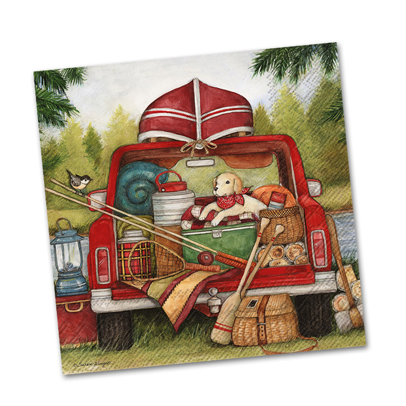 Red Truck Fishing Day Paper Beverage Napkins