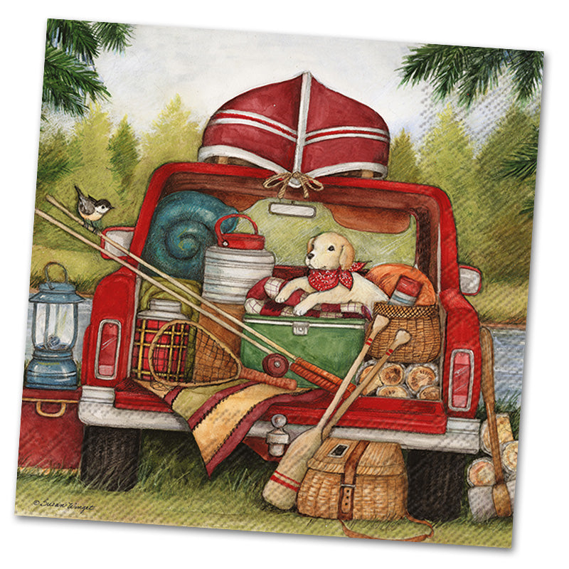 Red Truck Fishing Day Paper Luncheon Napkins