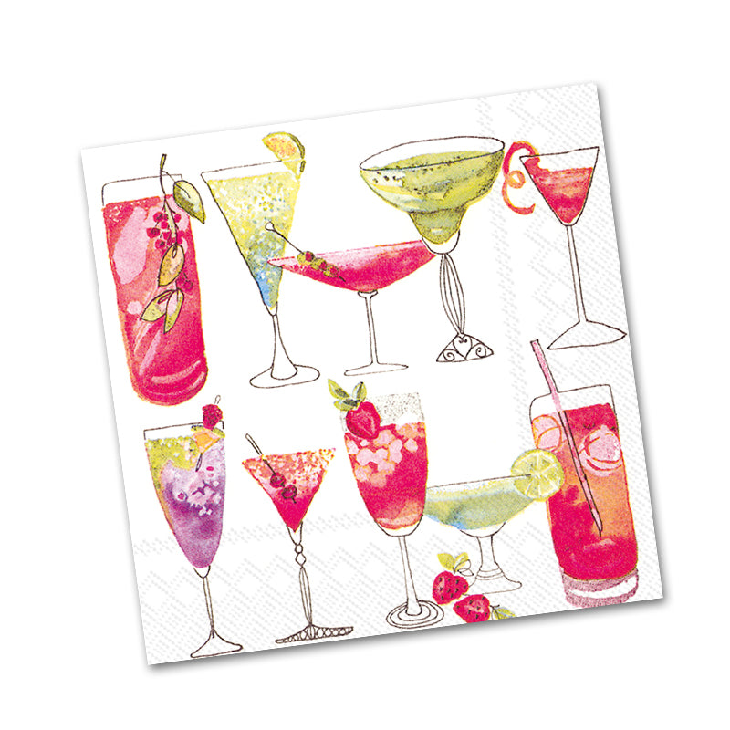 Sweet Cocktails - White Paper Beverage Napkins