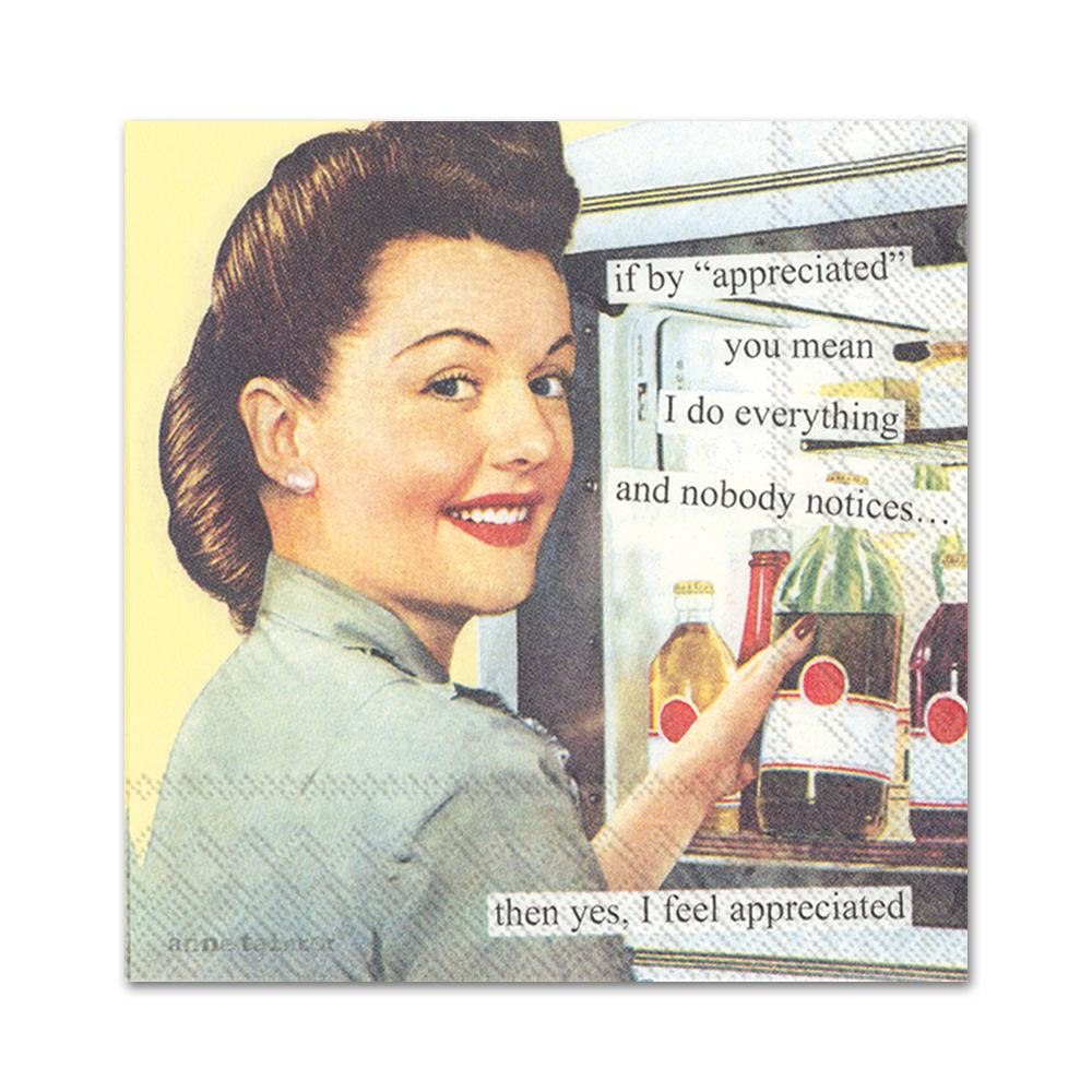 Appreciated Funny Cocktail Napkins by Anne Taintor