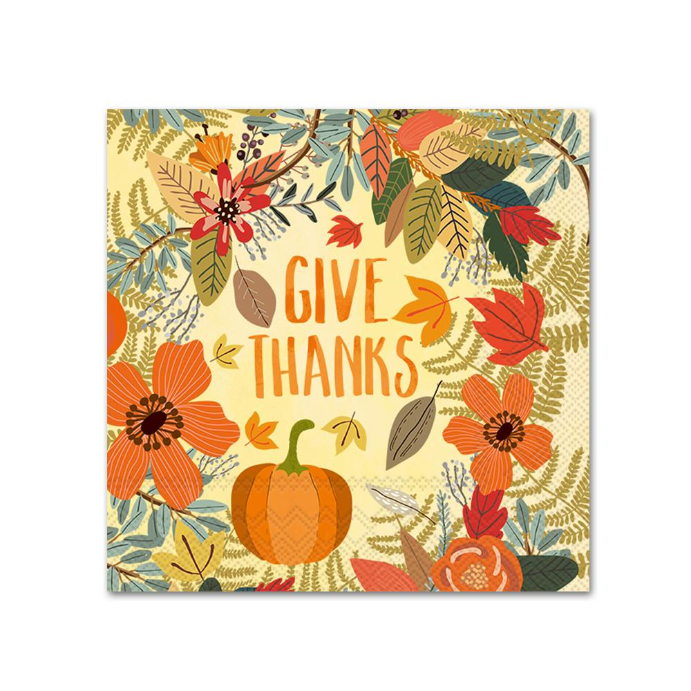 Give Thanks Floral Napkins - Beverage