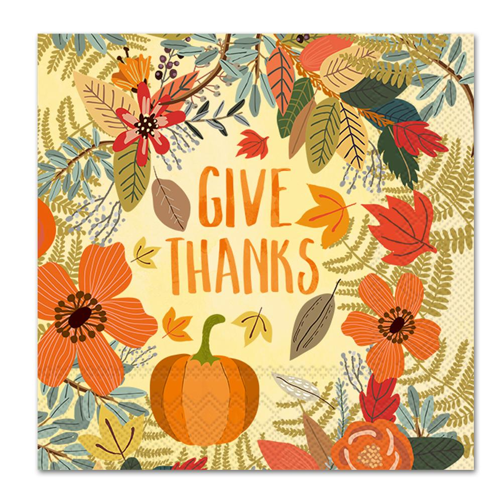 Give Thanks Floral Napkins - Luncheon