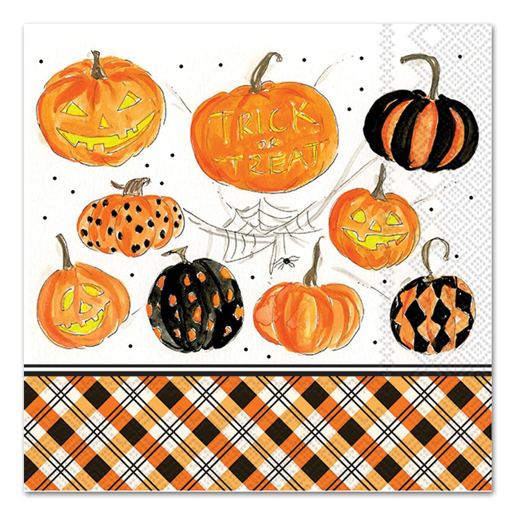 Plaid Pumpkins Paper Napkins - Luncheon