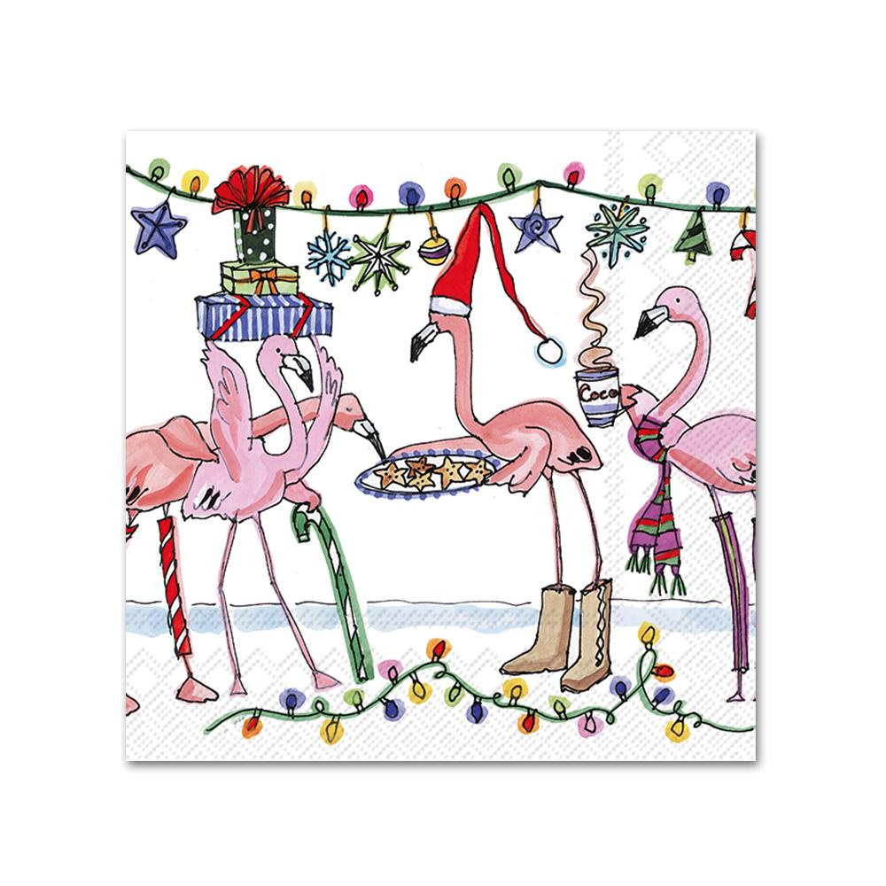Flamingo Christmas Party Beverage Napkins