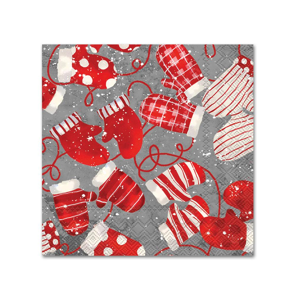 Christmas Mittens Paper Napkins - Beverage
