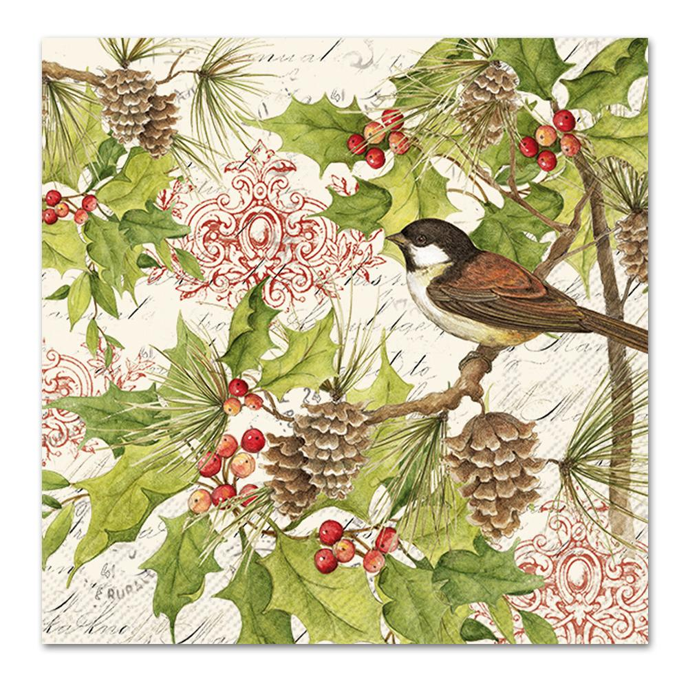 Chickadee Holiday Paper Napkins - Luncheon