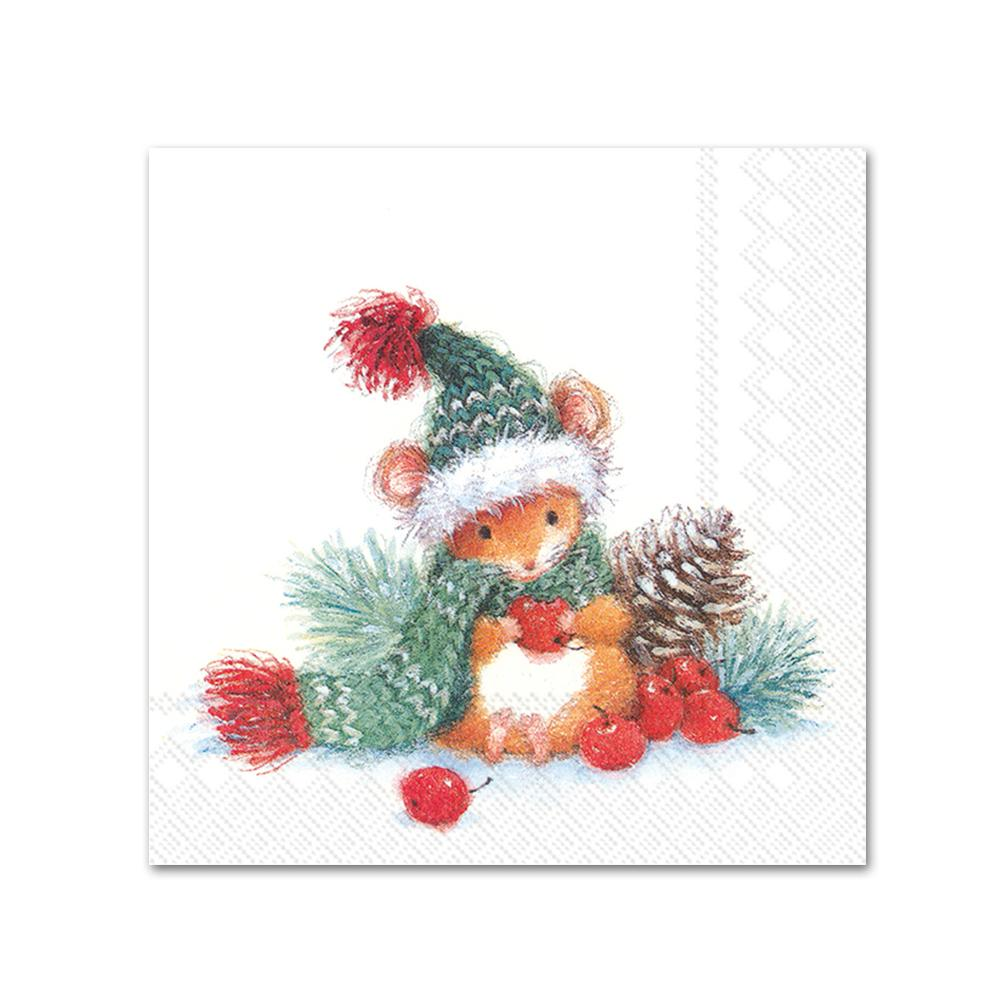 Barney the Christmas Mouse Paper Napkins - Beverage