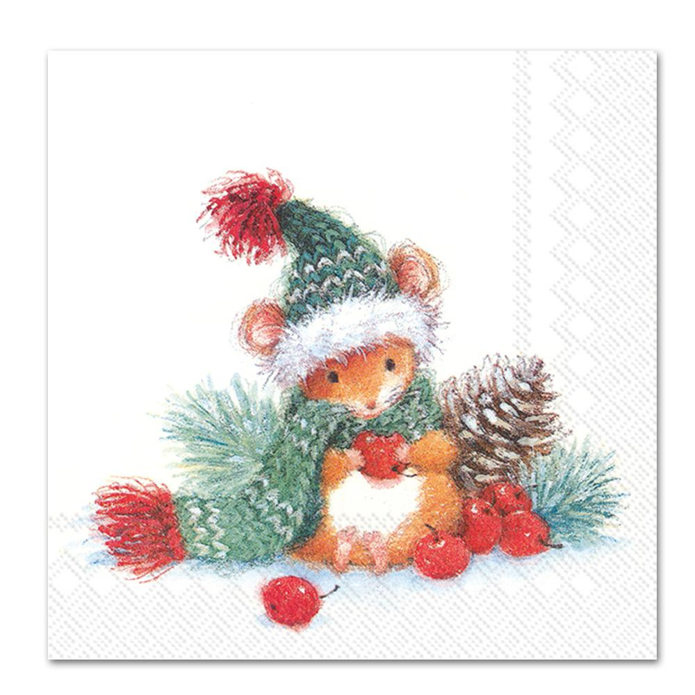 Barney the Christmas Mouse Paper Napkins -Luncheon