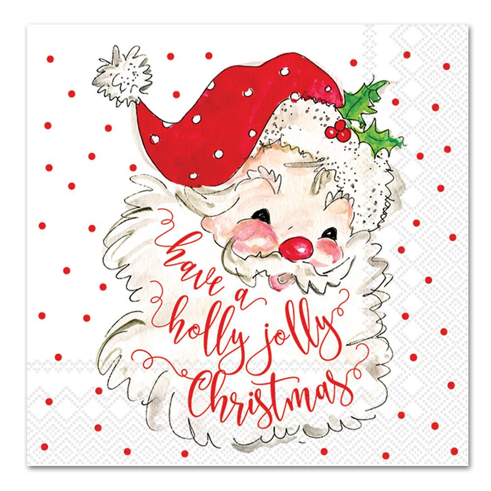 Holly Jolly Santa Paper Napkins - Luncheon